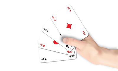 Hand mit Spielkarten