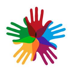 bunte Hände Konzept Zusammenhalt Gemeinschaft