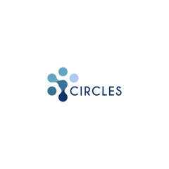 Abstract innovation symbol, unusual stylized human from circles. Isolated circular icon on white background. scientific laboratory equipment, science symbol. Blue water unusual shape logotype.