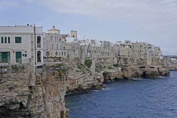 Italy, Puglia, the city of Polignano a Mare on the Adriatic
