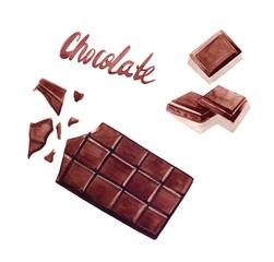 chocolate bar watercolor illustration