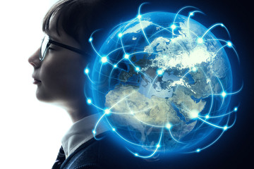 Global network concept. elements of this image furnished by NASA. 3D rendering.