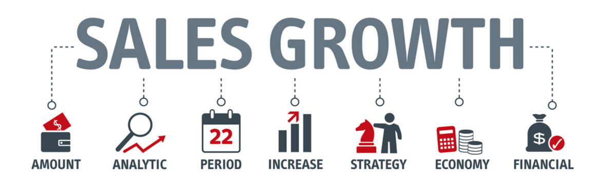 Banner sales growth concept. Vector illustration