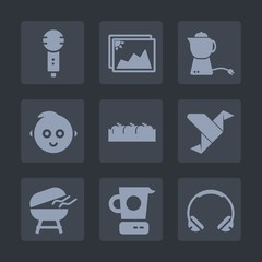 Premium set of fill icons. Such as cup, audio, song, sound, box, old, cute, kitchen, barbecue, microphone, grill, mixer, photo, sing, breakfast, picture, childhood, karaoke, child, voice, paper, tea