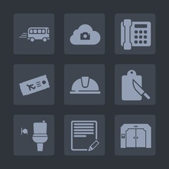 Premium set of fill icons. Such as construction, document, elevator, traffic, work, cutlery, bathroom, travel, internet, street, kitchen, text, communication, transportation, bus, photo, hat, call, wc