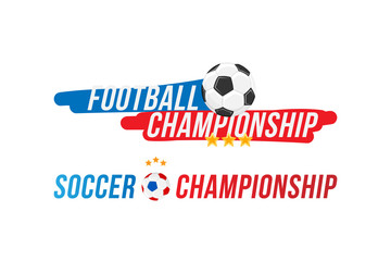 Football championship. Banner template horizontal format with a set font inscription with a bright light effect