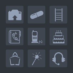 Premium set of fill icons. Such as internet, phone, step, ladder, camera, capsule, sign, up, , web, stationary, business, technology, upload, sound, music, photo, medical, sweet, digital, book, food