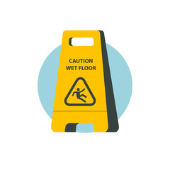 Wet floor. Vector sign, illustration.