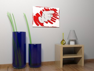 Canvas interior with hand pointing to the right - 3D rendering