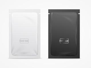 Realistic Detailed 3d White and Black Disposable Foil Sachet. Vector