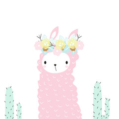 Cute pink llama with floral wreath and cactus. Vector hand drawn illustration.