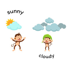 Opposite sunny and cloud vector illustration