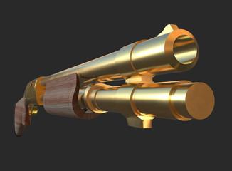 Gold shotgun rifle hunting carbine 3d render on black background