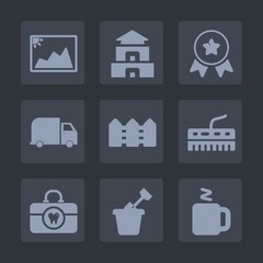 Premium set of fill icons. Such as music, photo, competition, delivery, play, architecture, travel, drink, award, paper, landmark, image, sand, temple, old, hygiene, keyboard, place, achievement, win