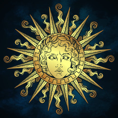 Hand drawn antique style sun with face of the greek and roman god Apollo over blue sky background. Flash tattoo or fabric print design vector illustration.