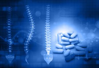 Human spin with medicine on blue background. 3d illustration .