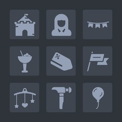 Premium set of fill icons. Such as fairytale, price, face, medieval, fantasy, celebration, construction, flag, decoration, wind, saw, building, bed, discount, bar, happy, palace, sale, birthday, glass