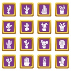 Cactus icons set vector purple square isolated on white background