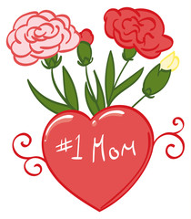 Number 1 Mom with Carnations