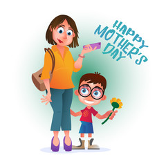 Greeting card or poster to Happy Mother's Day. Mom with phone stands with her son and flower. Vector illustration isolated on white. Perfect to use in advertising design and others creative projects