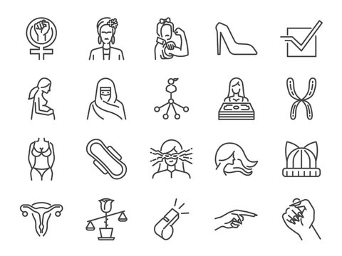 Feminist icon set. Included the icons as user feminine, girl power, pregnant women, feminism sign, woman salary, laws, body, rights and more