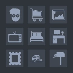 Premium set of fill icons. Such as post, purchase, style, television, photo, market, trolley, screen, bedroom, vacation, message, image, business, border, mail, store, graphic, desk, paper, white, tv
