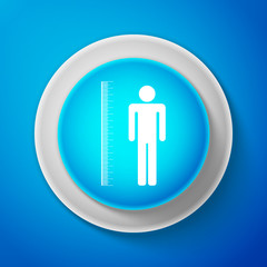 White Measuring height body icon isolated on blue background. Circle blue button with white line. Vector Illustration