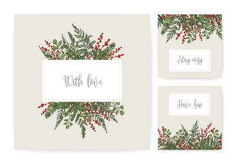 Collection of square card templates with ferns, wild herbs, green herbaceous plants, ilex or holly berries and wishes handwritten with cursive font. Gorgeous colorful realistic vector illustration.