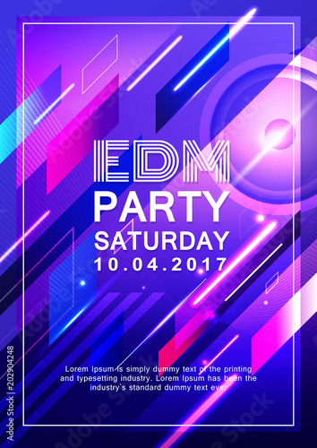 Poster Dj Party Design Electronic Music Vector Background Stock