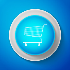 White Shopping cart icon isolated on blue background. Circle blue button with white line. Vector Illustration
