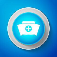 White Nurse hat with cross icon isolated on blue background. Medical nurse cap sign. Circle blue button with white line. Vector Illustration