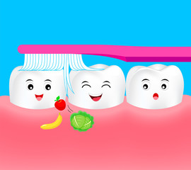 Happy cartoon tooth character with toothbrush. Remove food in human mouth. Dental care concept, Illustration.