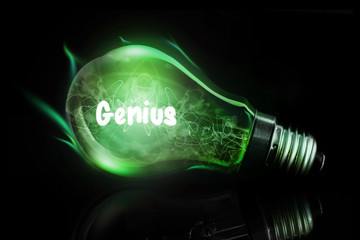 genius against glowing light bulb