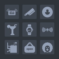 Premium set of fill icons. Such as user, watch, character, martini, scary, business, social, bow, work, circus, elegance, human, avatar, holiday, silverware, store, office, desk, table, cocktail, fork