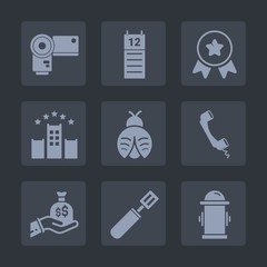 Premium set of fill icons. Such as technology, cooking, equipment, photography, lens, win, communication, pan, winner, hydrant, lady, kitchen, first, picture, sack, bed, vacation, digital, fire, water