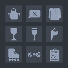 Premium set of fill icons. Such as picture, tie, red, apron, elegance, alcohol, pinafore, closed, skate, beverage, sink, bow, fashion, tap, chef, style, sign, kitchen, chat, clothing, leisure, drink
