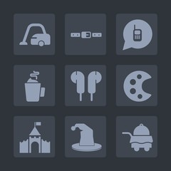 Premium set of fill icons. Such as housework, white, music, phone, bed, castle, domestic, drawing, drink, bedroom, audio, espresso, floor, home, building, house, hat, cleaner, service, communication