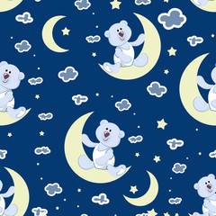 Starry sky, a young moon and a polar bear cub. Seamless pattern. BEDTIME STORY. Design for children's textiles, background image for packaging materials. Cartoon style.
