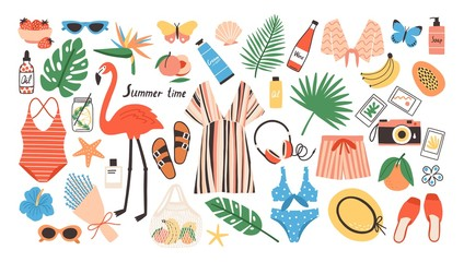 Collection of bright colored summer clothes, accessories, food products, tools or decorative design elements isolated on white background. Seasonal colorful vector illustration in modern flat style.