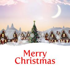 Photo sur Plexiglas Bleu clair Merry christmas against cute christmas village with tree
