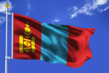 The silk waving flag of Mongolia with a flagpole on a blue sky background with clouds .3D illustration..