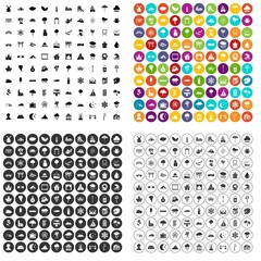 100 scenery icons set vector in 4 variant for any web design isolated on white