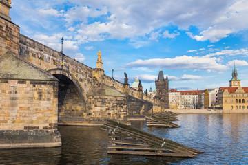 Charles Bridge that crosses the Vltava river in Prague, Czech Republic