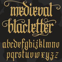 Gothic alphabet lowercase calligraphic letters. Vector