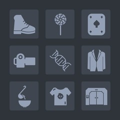 Premium set of fill icons. Such as casino, gambling, game, suit, boot, photography, dna, wear, sweet, food, lolly, kid, equipment, clothes, meal, dinner, clothing, colorful, picture, dessert, card