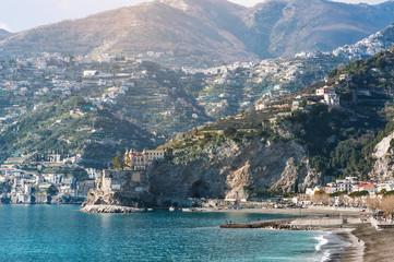 Panoramic view of the sea and mountains of Maiori, Amalfi Coast, Italy