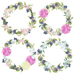 Set of flower wreaths