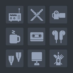 Premium set of fill icons. Such as coffee, audio, sport, japanese, digital, samurai, computer, japan, ninja, summer, photo, radio, cup, technology, underwater, photographer, glass, katana, picture, pc