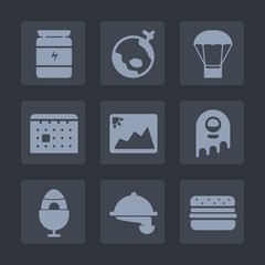 Premium set of fill icons. Such as schedule, world, holiday, timetable, muscle, airplane, image, health, waitress, time, monster, travel, earth, space, hamburger, restaurant, globe, sport, fitness