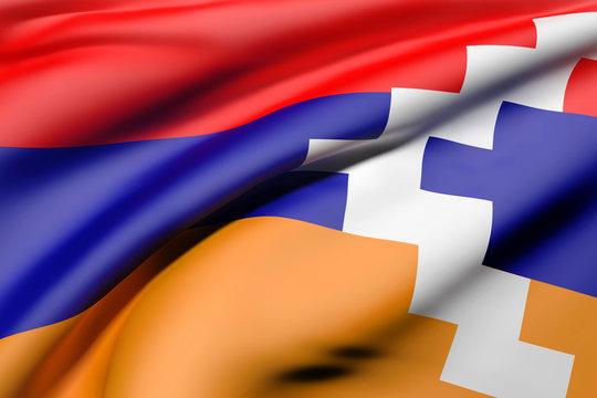 Republic of Artsakh flag waving
